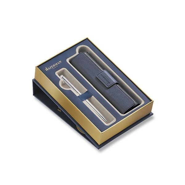 Psací potřeby - Waterman Hémisphère Stainless Steel CT kuličková tužka, dárková kazeta s pouzdrem