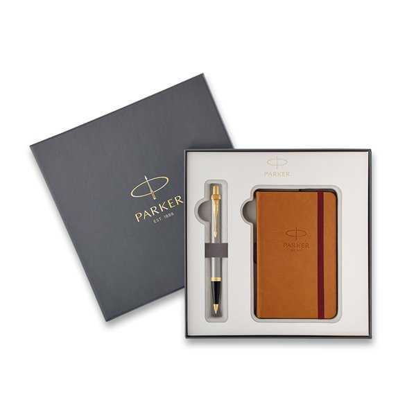 Psací potřeby - Parker Royal IM Brushed Metal GT kuličková tužka, dárková kazeta se zápisníkem