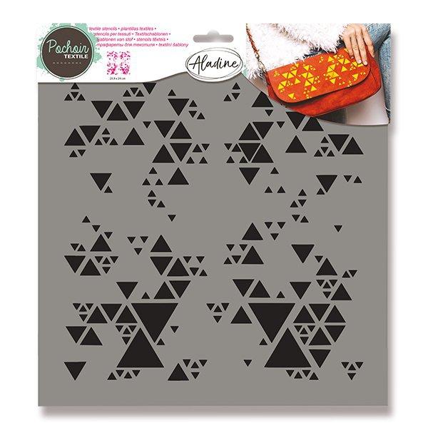Školní a výtvarné potřeby - Plastová šablona AladinE - Trojúhelníčky 28 x 28 cm