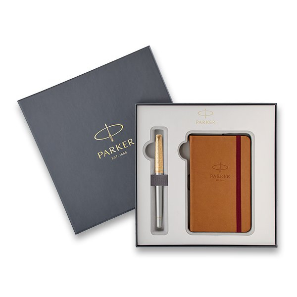 Psací potřeby - Parker Urban Premium Aureate Powder GT plnicí pero, dárková sada se zápisníkem