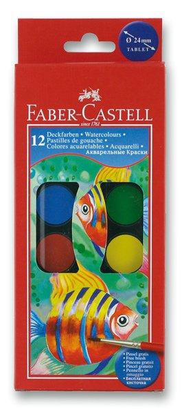 Psací potřeby - Vodové barvy Faber-Castell 12 barev, průměr 24 mm