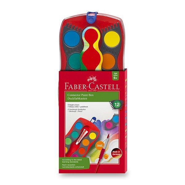 Psací potřeby - Vodové barvy Faber-Castell Connector 12 barev, průměr 30 mm