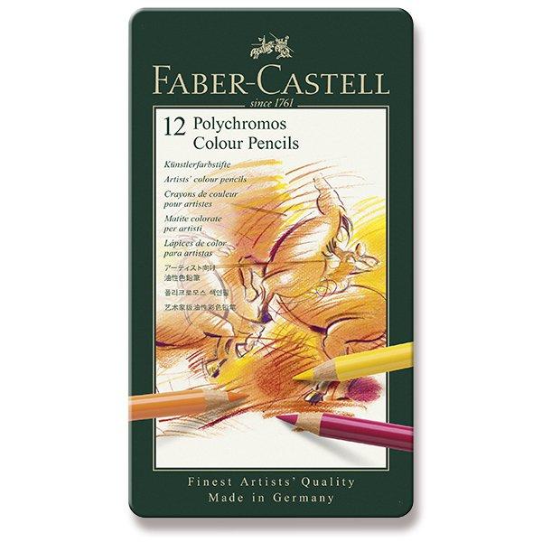 Psací potřeby - Pastelky Faber-Castell Polychromos plechová krabička, 12 barev