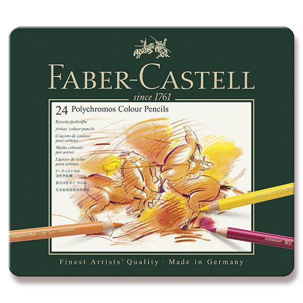 Psací potřeby - Pastelky Faber-Castell Polychromos plechová krabička, 24 barev