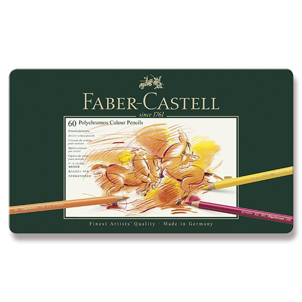 Psací potřeby - Pastelky Faber-Castell Polychromos plechová krabička, 60 barev