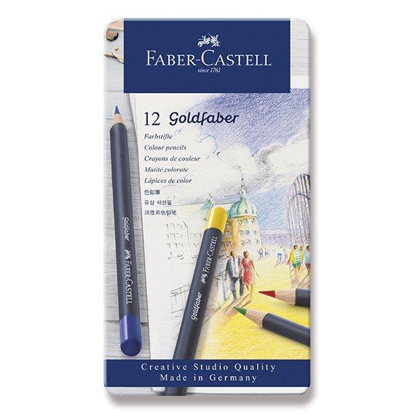 Psací potřeby - Pastelky Faber-Castell Goldfaber plechová krabička, 12 barev