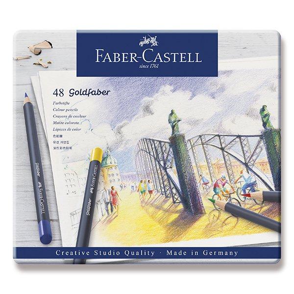 Psací potřeby - Pastelky Faber-Castell Goldfaber plechová krabička, 48 barev