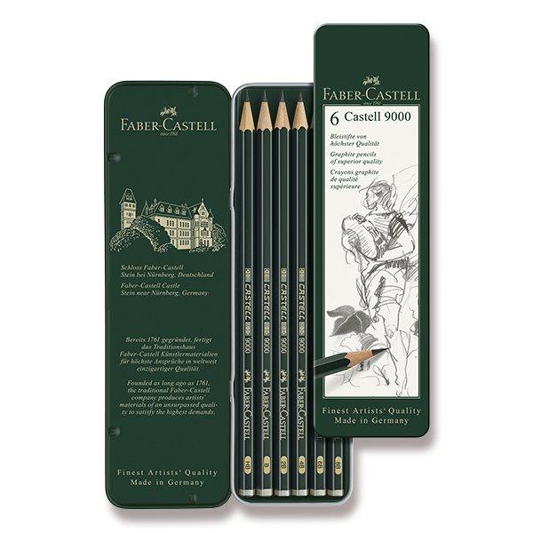 Psací potřeby - Grafitová tužka Faber-Castell Castell 9000 6 ks, plechová krabička