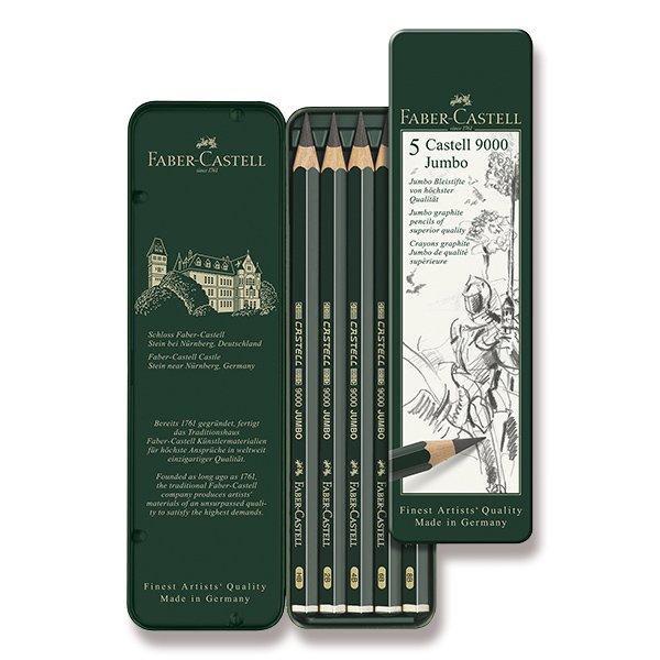 Psací potřeby - Grafitová tužka Faber-Castell Castell 9000 Jumbo 5 ks, plechová krabička