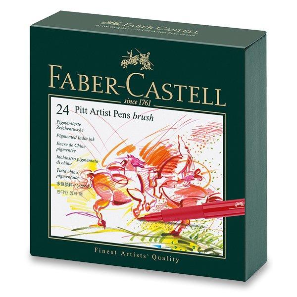 Psací potřeby - Popisovač Faber-Castell Pitt Artist Pen Brush studio box, 24 ks