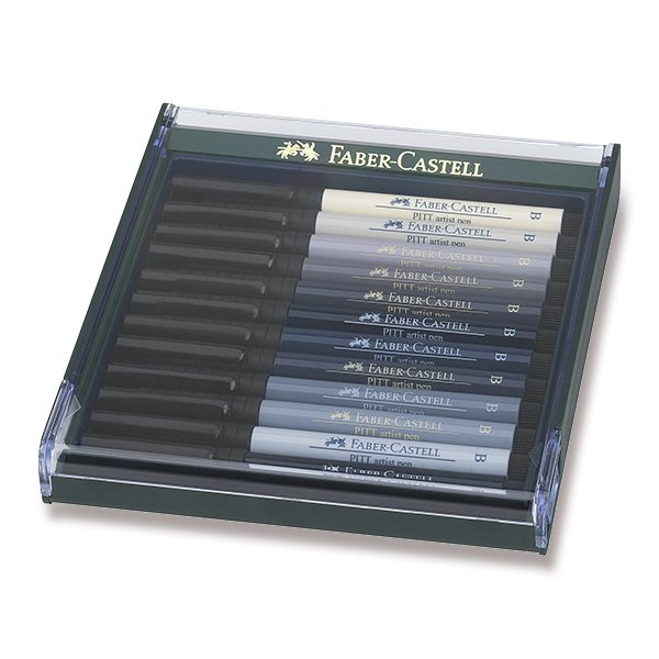 Psací potřeby - Popisovače Faber-Castell Pitt Artist Pen Brush 12 ks, odstíny šedi