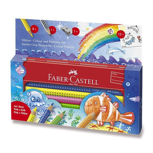 Psací potřeby - Pastelky Faber-Castell Jumbo Grip mořský svět, 9 ks
