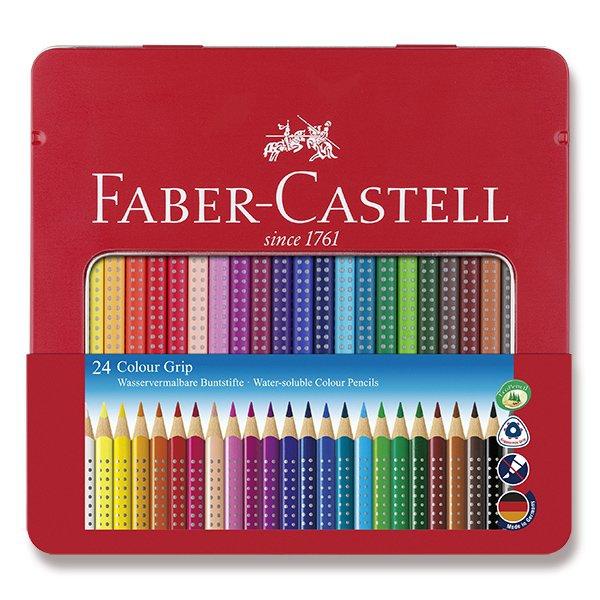 Psací potřeby - Pastelky Faber-Castell Grip 2001 plechová krabička, 24 barev