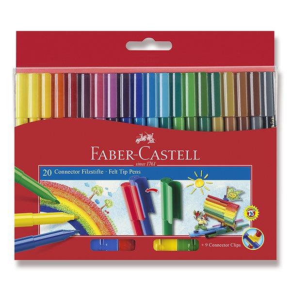 Psací potřeby - Dětské fixy Faber-Castell Connector 20 barev