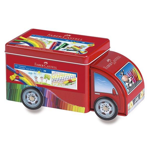 Psací potřeby - Dětské fixy Faber-Castell Connector plechové autíčko, 33 barev