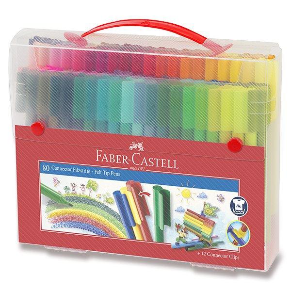Psací potřeby - Dětské fixy Faber-Castell Connector taška, 80 barev
