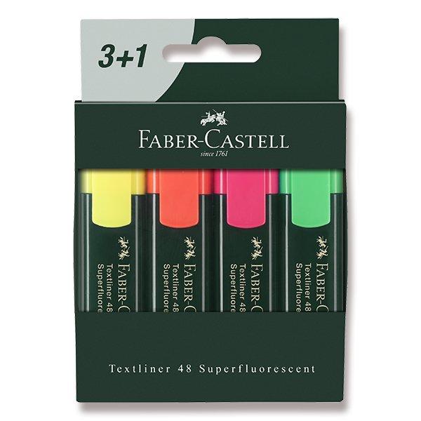 Psací potřeby - Zvýrazňovač Faber-Castell Textliner 48 4 kusy