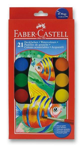 Psací potřeby - Vodové barvy Faber-Castell 21 barev, průměr 30 mm