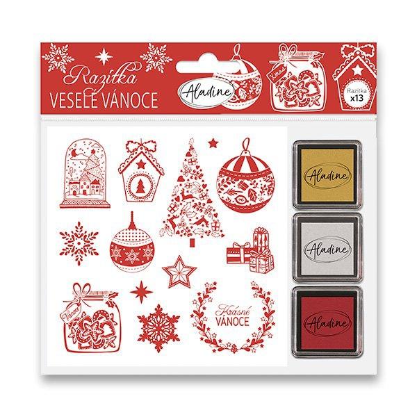 Školní a výtvarné potřeby - Razítka Stampo Nöel Aladine - Veselé Vánoce 13 ks
