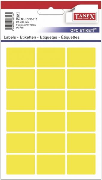 Papír tiskopisy - Etikety v sáčku neon 22 x 32 žluté 90ks OCF-116