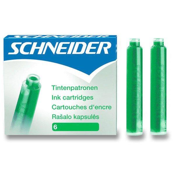 Psací potřeby - Inkoustové bombičky Schneider, 6 ks zelené