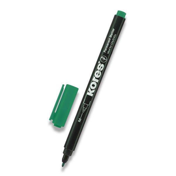 Psací potřeby - Permanentní popisovač Kores K-Marker tenký zelený