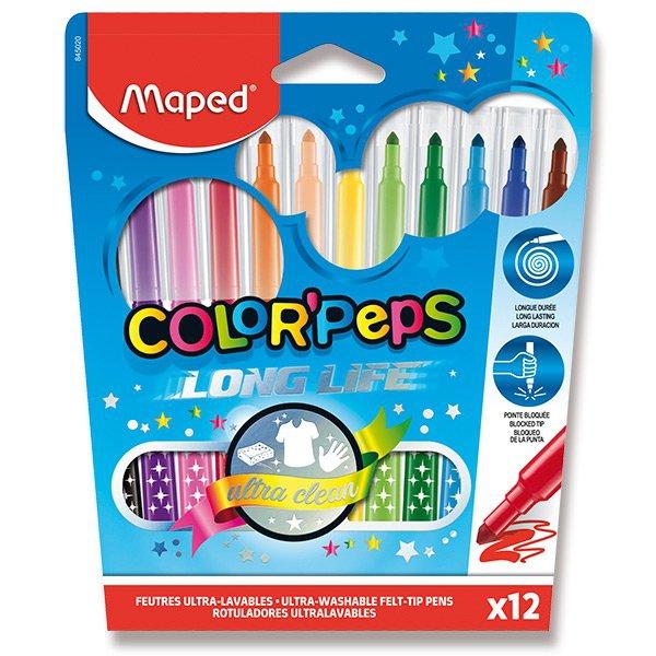 Psací potřeby - Dětské fixy Maped Color´Peps Long Life 12 barev