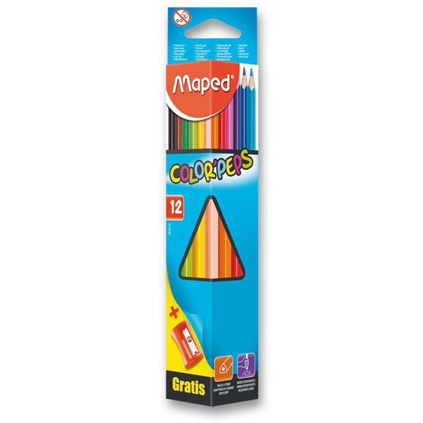 Psací potřeby - Pastelky Maped Color´Peps 12 barev + ořezávátko