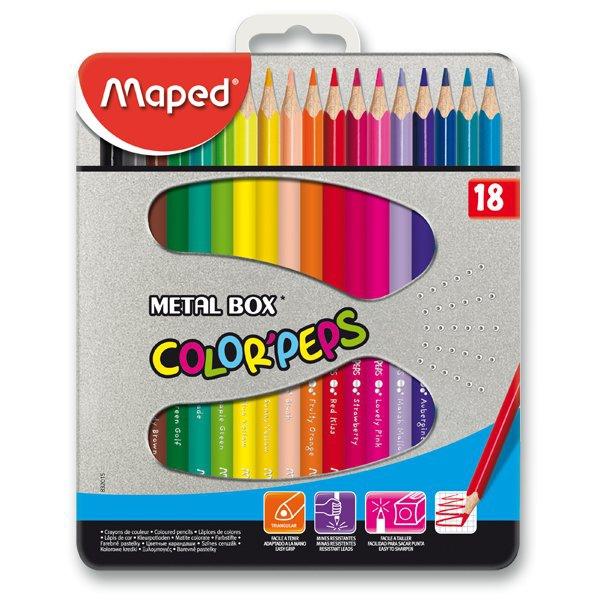 Psací potřeby - Pastelky Maped Color´Peps Metal Box 18 barev