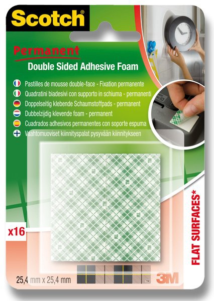 Kancelářské potřeby - Oboustranně lepicí pěnové čtverečky 3M Scotch Permanent čtverečky 25,5 x 25,4 mm, 16 ks
