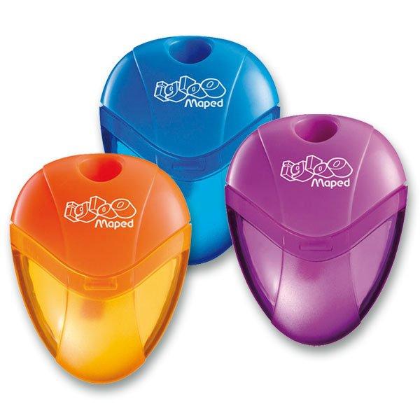 Kancelářské potřeby - Ořezávátko Maped I-gloo - s odpadní nádobkou, pro leváky 1 otvor, blistr, mix barev