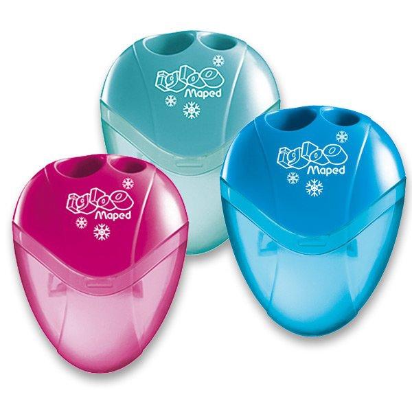 Kancelářské potřeby - Ořezávátko Maped I-gloo - s odpadní nádobkou 2 otvory, mix barev