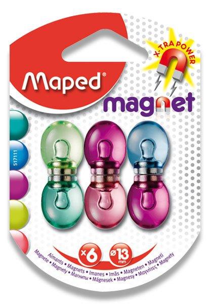 Kancelářské potřeby - Silné magnety Maped - průměr 13 mm mix barev, 6 ks