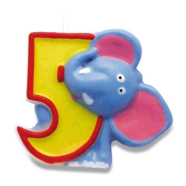 """Školní a výtvarné potřeby - Dortová číslová svíčka """"5"""", slon"""