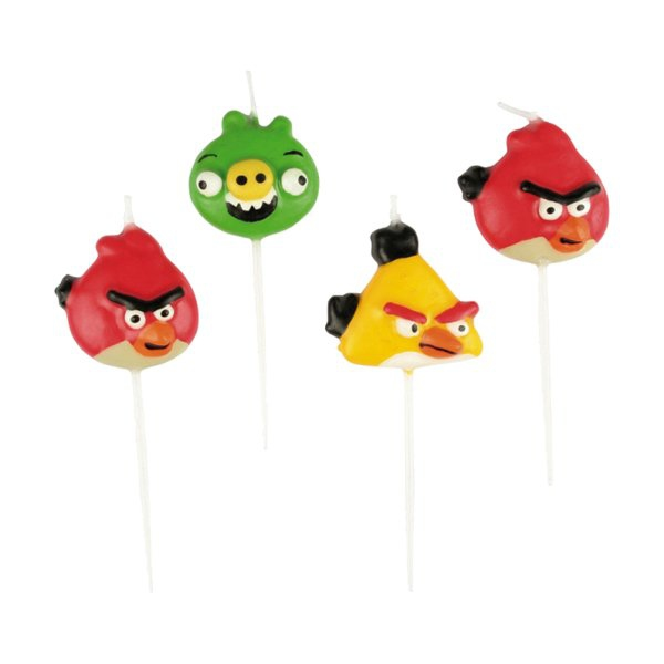 Školní a výtvarné potřeby - Dortové svíčky Angry Birds, mix motivů 4 ks