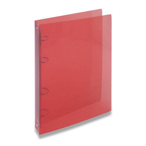 Třídění a archivace - 4kroužkový pořadač Transparent červený