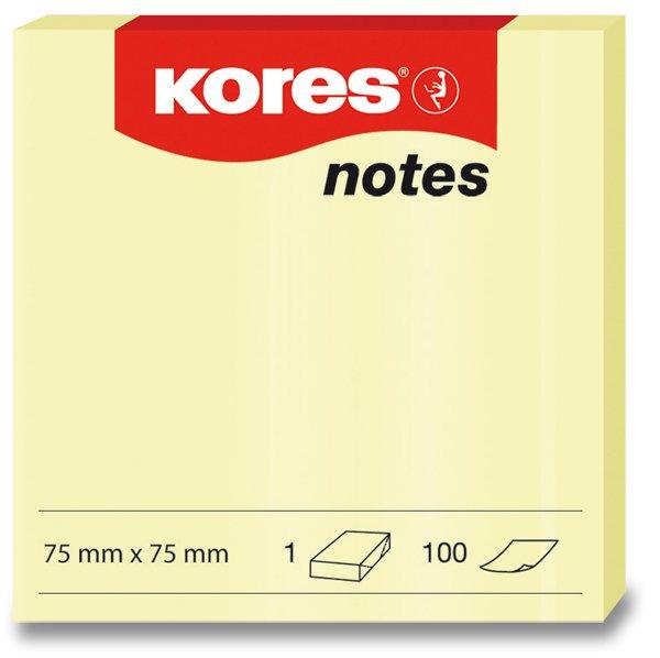 Papír tiskopisy - Samolepicí bloček Kores - žlutý 75 × 75 mm, 100 listů