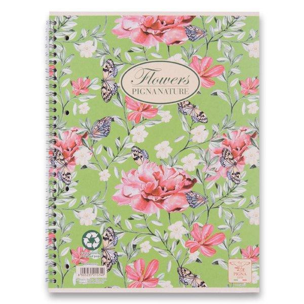 Papír tiskopisy - Kroužkový blok Pigna Nature Flowers A5, linkovaný, 60 listů, mix motivů