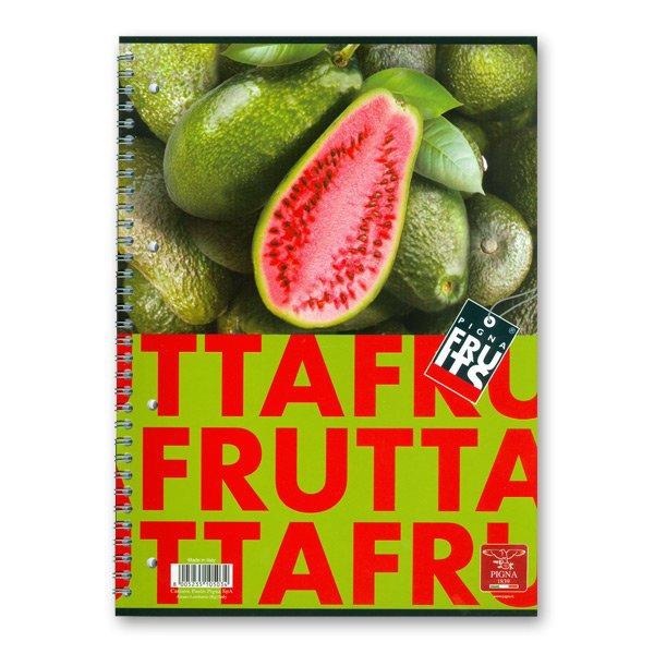 Papír tiskopisy - Kroužkový blok Pigna Fruits A4, linkovaný, 80 listů, mix motivů