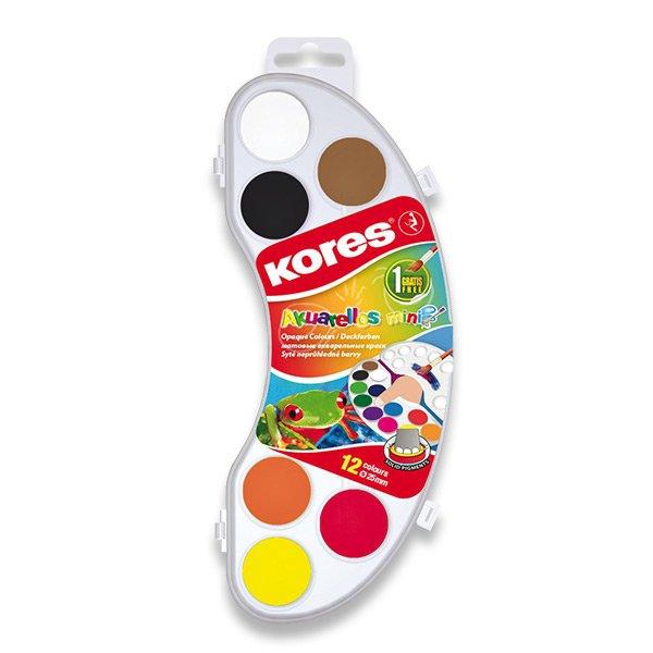 Školní a výtvarné potřeby - Vodové barvy Kores Akuarellas 12 barev, průměr 25 mm