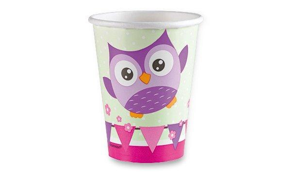 Školní a výtvarné potřeby - Papírové kelímky Happy Owl objem 0,25 l, 8 ks
