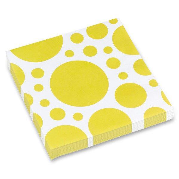 Školní a výtvarné potřeby - Ubrousky Solid Color Dots žluté