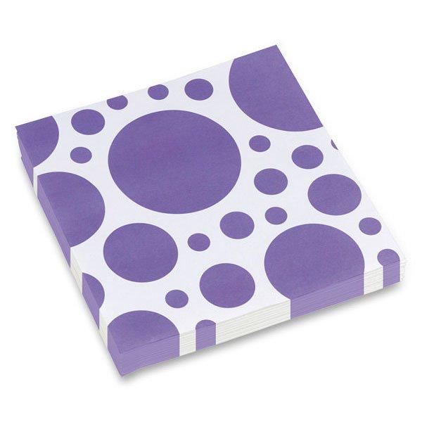 Školní a výtvarné potřeby - Ubrousky Solid Color Dots fialové