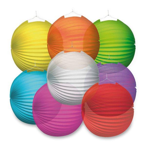Školní a výtvarné potřeby - Papírový lampion Transparent průměr 25 cm, mix barev