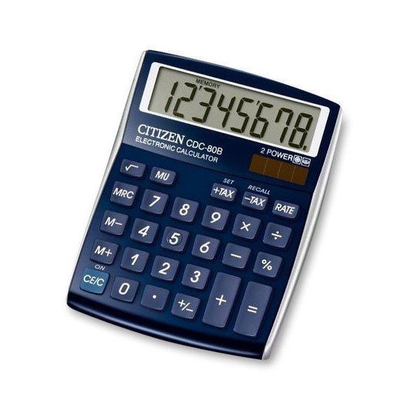 Kancelářské potřeby - Stolní kalkulátor Citizen CDC-80 modrý
