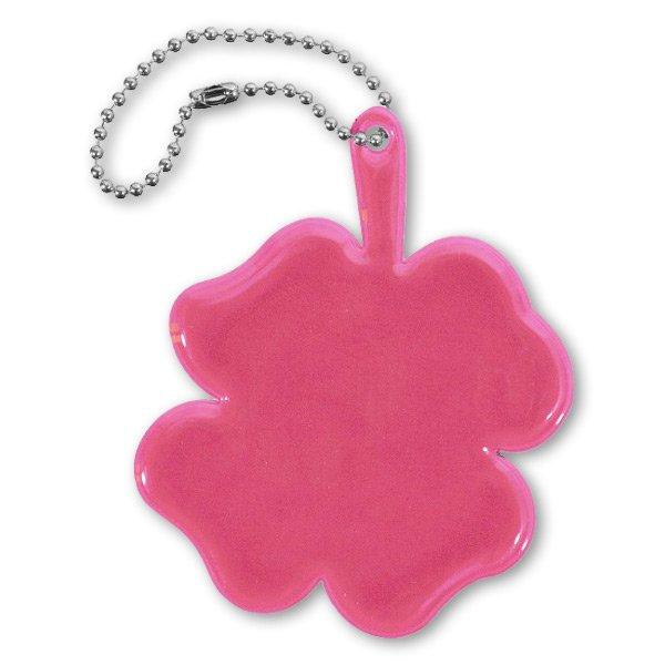 Školní a výtvarné potřeby - Reflexní přívěsek čtyřlístek růžový