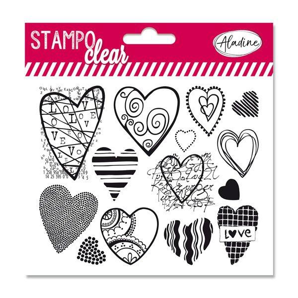 Školní a výtvarné potřeby - Razítka gelová Stampo Clear - Srdíčka