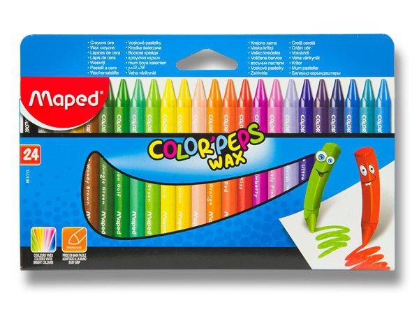 Psací potřeby - Voskovky Maped Color´Peps Wax 24 barev, trojhranné