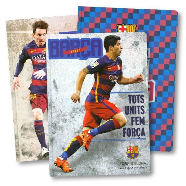 Papír tiskopisy - Záznamní kniha FCB Barcelona A4, linkovaná, 96 listů, mix motivů