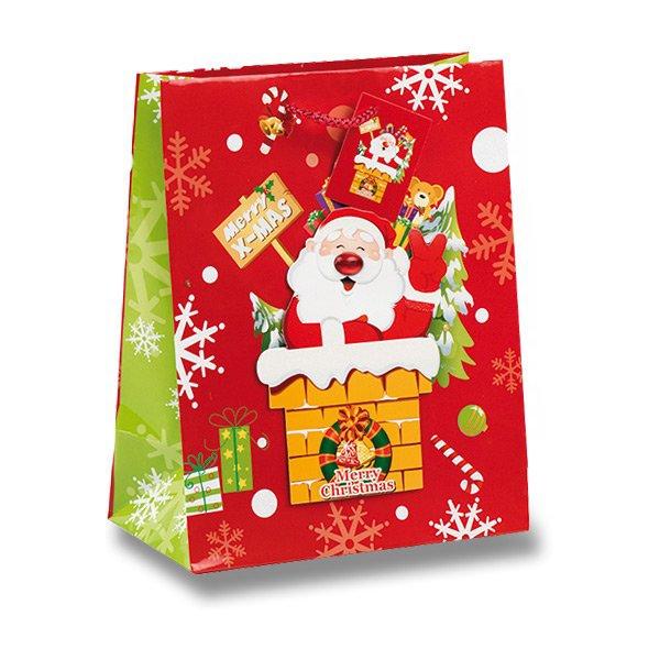 Obalový materiál drogerie - Dárková taška Santa Claus 205 x 110 x 260 mm
